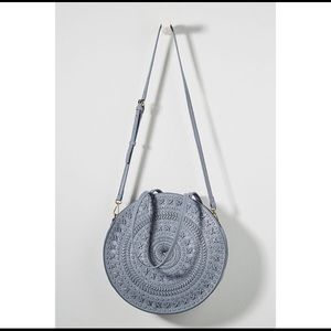 Anthropologie Blue Woven Circle Purse